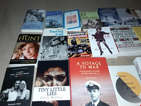 Lot 16 LOT OF APPROXIMATELY 20 ASSORTED BOOKS TO INCLUDE CHLOE MCCOLE TINY LITTLE LIES, TUCKER MAX I HOPE THEY SERVE BEER IN HELL AND TINA TURNER MY LOVE STORY ECT
