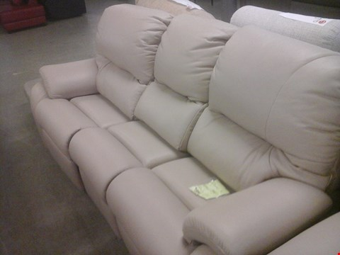 Lot 22 QUALITY BRITISH MADE HARDWOOD FRAMED BEIGE LEATHER 3 SEATER RECLINER SOFA