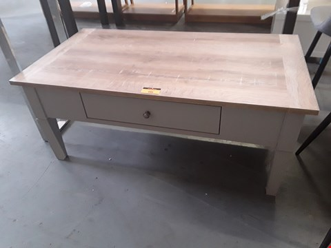 Lot 386 DESIGNER OAK/GREY COFFEE TABLE WITH DRAWER