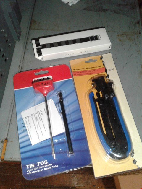 Lot 8260 BOX OF ASSORTED ITEMS TO INCLUDE - SHIRT BELT - PROFESSIONAL COMPRESSION TOOL - TIS 705 DIGITAL MINI THERMOMETER