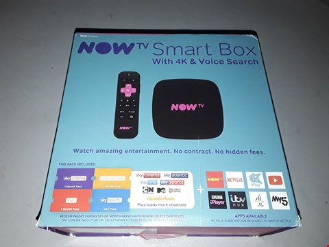 Lot 17436 NOW TV SMART BOX WITH 4K & VOICE SEARCH  RRP £68.99