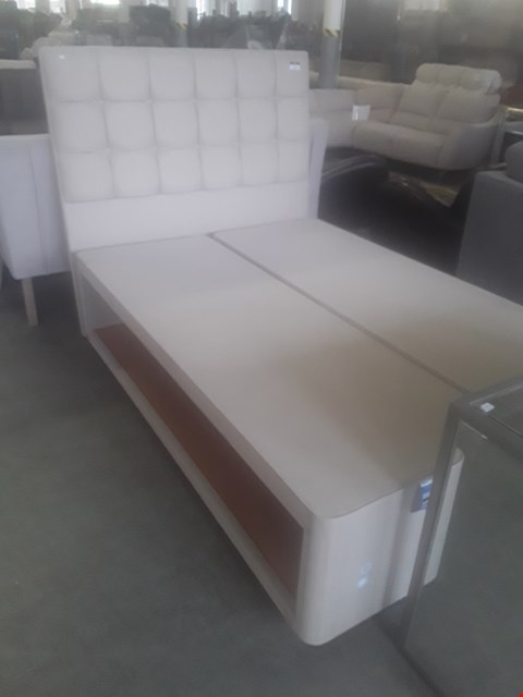 """Lot 100 DESIGNER NATURAL FABRIC 4'6"""" DOUBLE DIVAN BASE WITH HYPNOS BUTTONED HEADBOARD"""