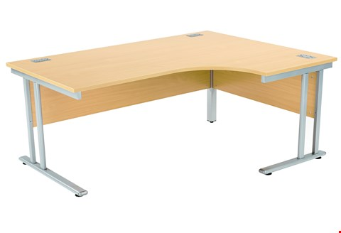 Lot 10 BRAND NEW FRACTION 2 RIGHT HAND 180 CORE WORKSTATION - NOVA OAK WITH SILVER FRAME RRP £405.00