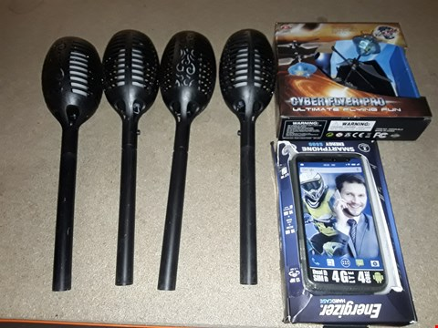 Lot 13839 LOT OF 3 ITEMS TO INCLUDE 4 TULIP STYLE LIGHTS, ENERGIZER SMARTPHONE CASE AND CYBORG FLYER PRO