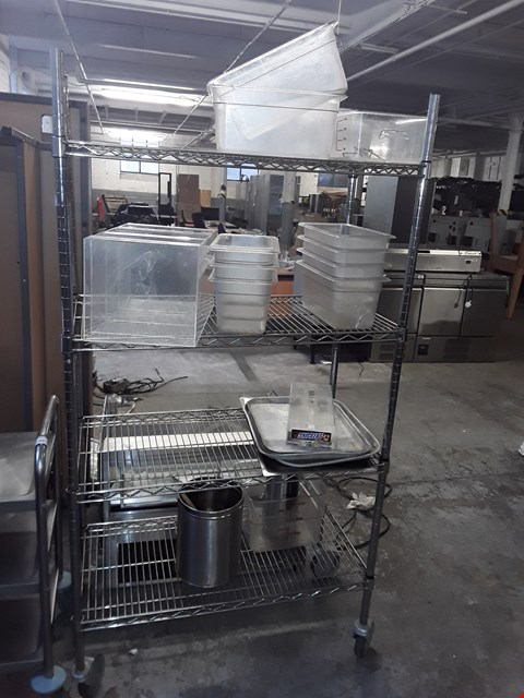 Lot 51 COMMERCIAL STAINLESS STEEL 4 TIERED WHEELED CATERING TROLLEY WITH STORAGE BOXES AND TRAYS