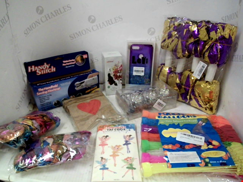 Lot 10032 LOT OF A LARGE QUANTITY OF ASSORTED HOUSEHOLD ITEMS, TO INCLUDE MAGIC WATER BALLOONS, MSDEAR HAIR COLOUR WAX IN A VARIETY OF COLOURS, A SELECTION OF SHIMMER HAIR SCRUNCHIES, ETC