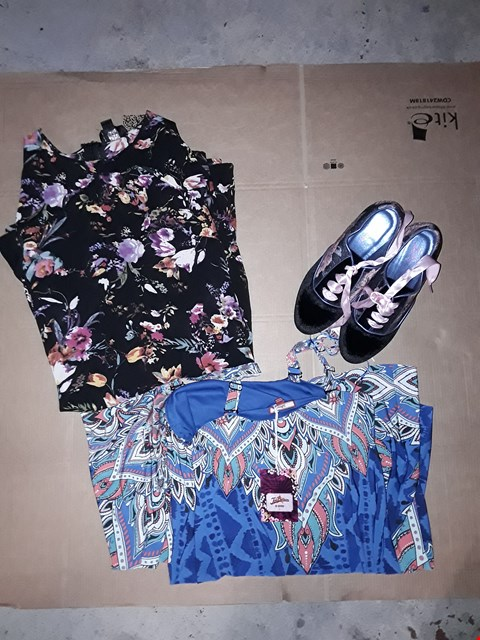 Lot 9389 LOT OF 4 BOXES OF APPROXIMATELY 92 CLOTHING ITEMS TO INCLUDE JB SHOE BOOT FLORAL BLACK, JB DRESS BLACK FLORAL PRINT, ECT