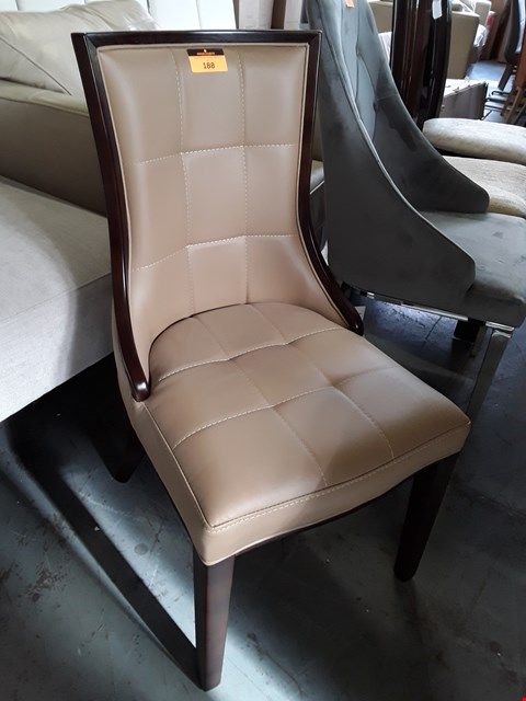Lot 188 DESIGNER TAN LEATHER UPHOLSTERED SINGLE DINING CHAIR