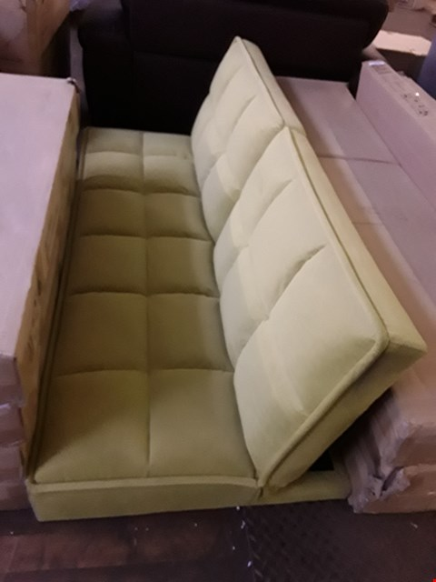 Lot 2065 DESIGNER LIME GREEN FABRIC CLICK-CLACK SOFA BED