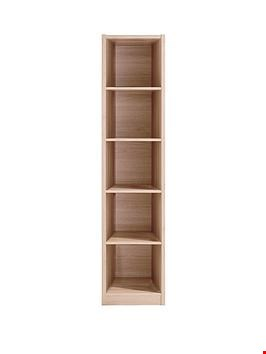 Lot 2014 BOXED GRADE 1 METRO OAK-EFFECT TALL HALF WIDTH BOOKCASE (1 BOX) RRP £99.99