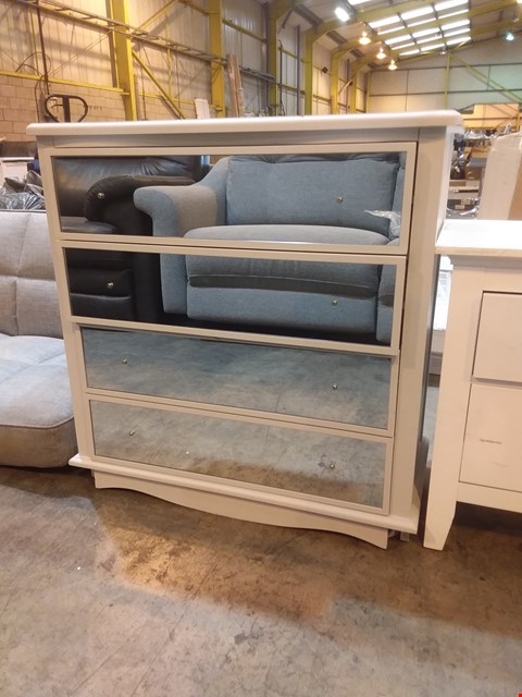 Lot 585 DESIGNER GREY PAINTED 4 DRAWER CHEST WITH MIRRORED FRONT