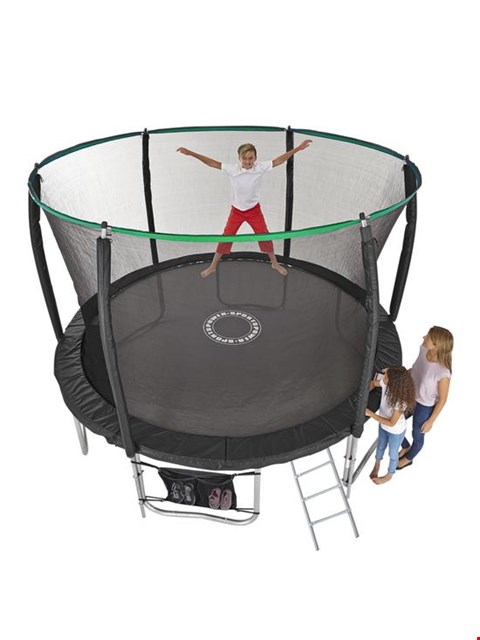 Lot 3 BOXED SPORTSPOWER 14FT TRAMPOLINE WITH EASI-STORE FOLDING ENCLOSURE & FLIP PAD RRP £250.00