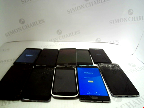Lot 3372 LOT OF 10 ASSORTED SMARTPHONES; VARIOUS MAKES AND GRADES