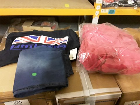 Lot 1453 LOT OF APPROXIMATELY 80 (5 BOXES) OF ASSORTED ITEMS TO INCLUDE UNION JACK PRINT T-SHIRT, TOWELLING ROBE, JEANS ETC