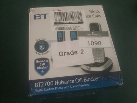 Lot 1098 BOXED BT 2700 NUISANCE CALL BLOCKER TRIO CORDLESS PHONE RRP £99.99