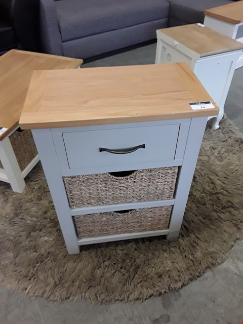 Lot 25 DESIGNER PAINTED WOOD AND OAK FINISH CABINET WITH WICKER STORAGE