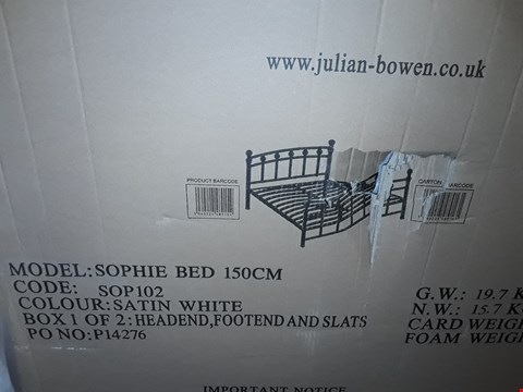 Lot 5254 BOXED SOPHIE SATIN WHITE 150CM BED (2 BOXES)