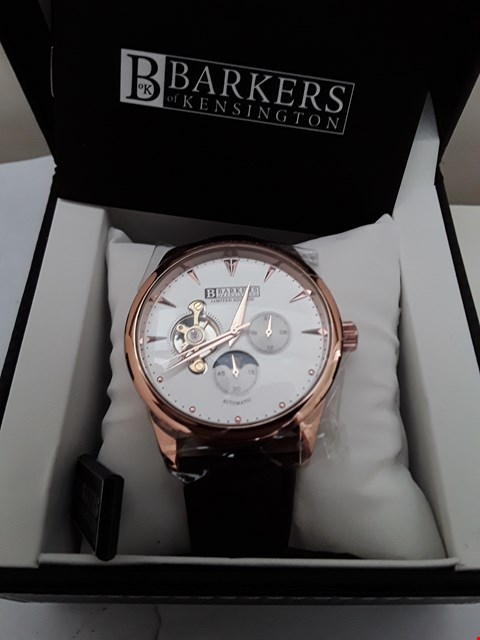 Lot 2085 BRAND NEW DESIGNER BARKERS OF KENSINGTON AUTOMATIC LEATHER STRAP WITH ROSE GOLD DETAIL GENTS WRISTWATCH