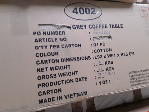 Lot 7075 BOXED GREY COFFEE TABLE