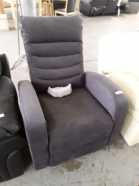 Lot 91 DESIGNER SAVAS GREY FABRIC POWER RECLINING EASY CHAIR