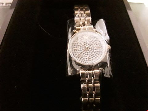 Lot 1270 EMPORIO ARMANI CRYSTAL ADORNED DIAL ROSE GOLD TONE LADIES WRISTWATCH  RRP £499.00
