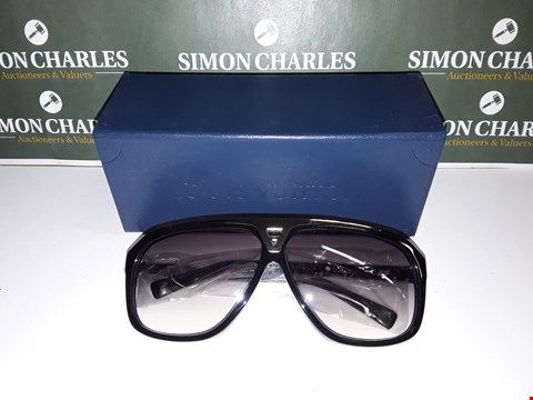 Lot 319 BOXED PAIR OF LOUIS VUITTON STYLE BLACK FRAMED GLASSES WITH CHROME DETAIL