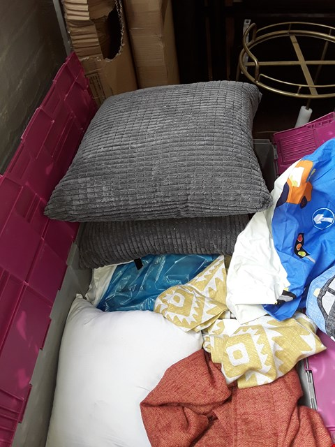 Lot 2036 A BOX OF APPROXIMATELY 15 ITEMS TO INCLUDE,  GREY SOFA CUSIONS ORANGE CURTAINS AND KIDS DVET SET ETC