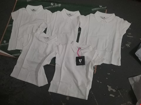 Lot 12181 SET OF 5 WHITE TOPS FOR 5/6 YEAR OLDS