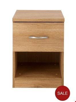 Lot 155 BOXED PERU 1 DRAWER BEDSIDE CABINET IN OAK  RRP £45.00