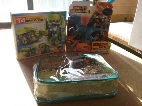 Lot 9049 A EQUESTRIAN FLOCKED HORSE SET, A T4 TRANSFORMING SOLAR ROBOT AND A MIGHTY MEGASAUR