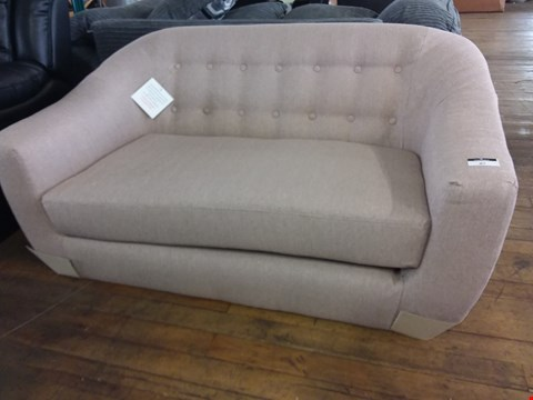 Lot 87 DESIGNER BEIGE FABRIC BUTTON BACK TUB SOFA