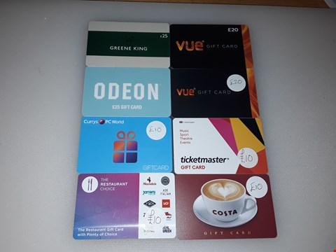 Lot 19 8 ASSORTED ENTERTAINMENT AND FOOD GIFT CARDS, INCLUDING CURRYS PC WORLD, ODEON, TICKETMASTER, VUE, COSTA, RESTAURANT CHOICE AND GREENE KING.  TOTAL VALUE £130