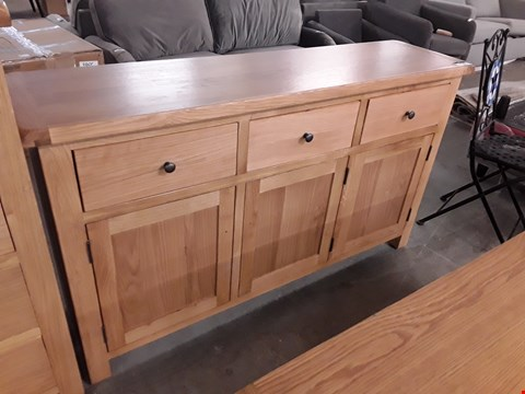 Lot 340 DESIGNER LIGHT OAK 3 DRAWER 3 DOOR SIDEBOARD