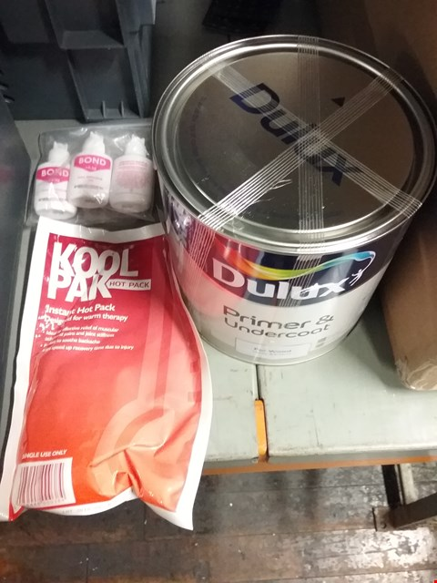 Lot 8104 BOX OF APPROXIMATELY 18 ASSORTED ITEMS TO INCLUDE DULY PRIMER & UNDERCOVER, KOOL PACK INSTANT HOT PACK AND SET OF 3 BOND CLEAR NAIL ADHESIVE