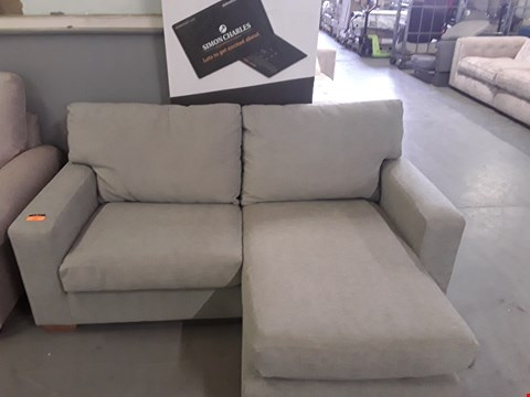 Lot 227 QUALITY BRITISH DESIGNER GREY FABRIC CHAISE SOFA