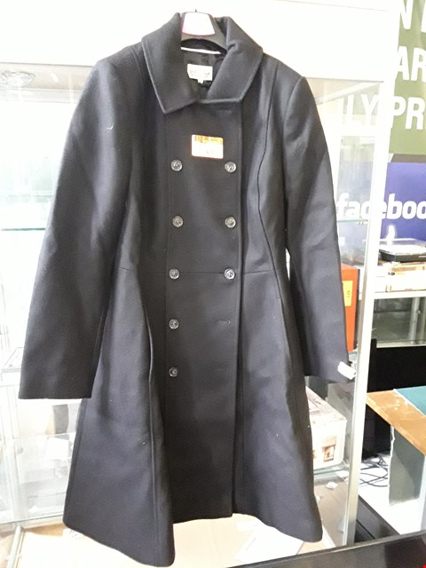 Lot 4151 BRAND NEW LADIES DESIGNER SOMERSET BLACK ITALIAN CASHMERE FABRIC DOUBLE BREASTED COAT Size 14 RRP £299.00
