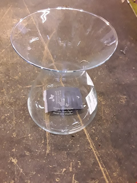 Lot 115 PERSONALISED BUTTERFLY HOURGLASS VASE RRP £30