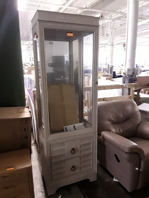 Lot 367 DESIGNER CALIFORNIA LIMED OAK GLAZED TALL DISPLAY CABINET ON TWO DRAWER BASE