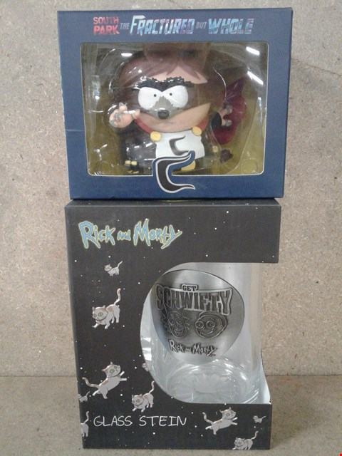 Lot 504 2 BRAND NEW BOXED ITEM TO INCLUDE RICK AND MORTY GLASS STEIN AND SOUTH PARK THE FRACTURED BUT WHOLE