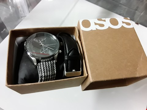 Lot 8222 ASOS UNRVLLD/SPPLY MENS WATCH WITH SILVER LOOK BODY AND 2 STRAPS