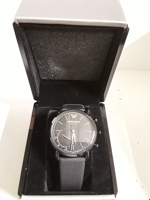 Lot 24 EMPORIO ARMANI SE1 BLACK DIAL AND BLACK LEATHER STRAP WATCH RRP £367