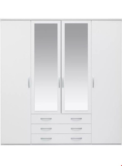 Lot 2031 BOXED GRADE 1 CAMBERLEY 4-DOOR 3-DRAWER WHITE MIRRORED WARDROBE (2 BOXES) RRP £359.00