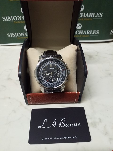Lot 4561 L. A BANUS STAINLESS STEEL CASE CHRONOGRAPH WATCH WITH BLACK LEATHER WRIST STRAP