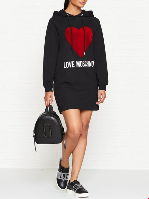 Lot 7123 LOVE MOSCHINO FLOCK HEART LOGO BLACK SWEATER DRESS - SIZE 8 UK