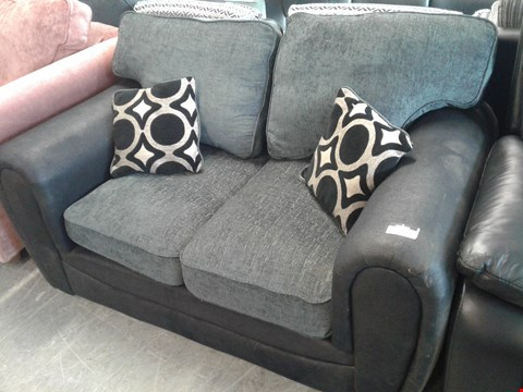 Lot 6 DESIGNER BLACK FAUX LEATHER AND CHARCOAL FABRIC 2 SEATER SOFA
