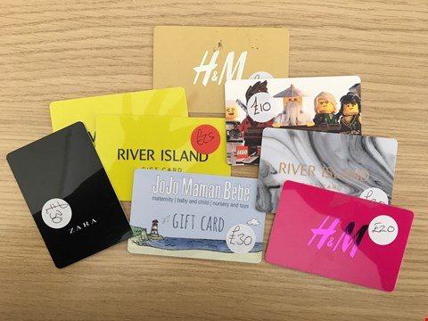 Lot 9 8 ASSORTED VOUCHERS, TO INCLUDE ZARA, JOJO MAMAN BEBE, RIVER ISLAND AND H&M.  TOTAL VALUE £180