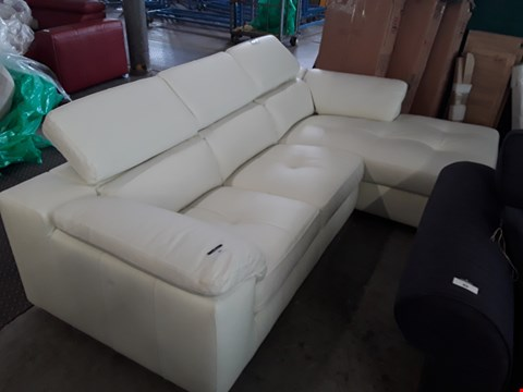 Lot 91 DESIGNER IVORY LEATHER CHAISE SOFA WITH ADJUSTABLE HEADRESTS