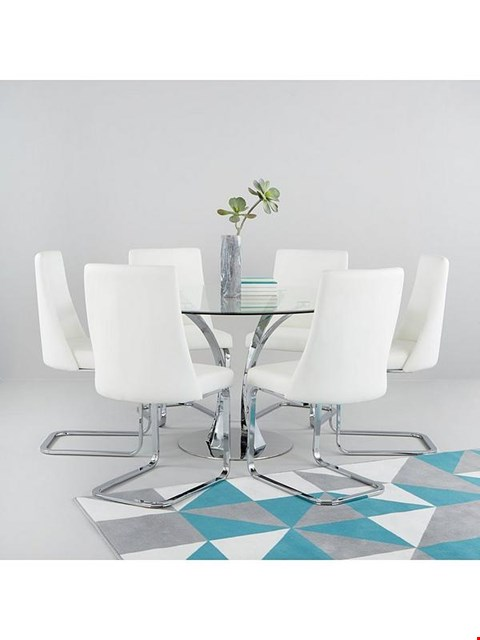 Lot 7044 BOXED GRADE 1 ALICE CLEAR/WHITE DINING SET - ROUND TABLE & 6 CHAIRS (5 BOXES)