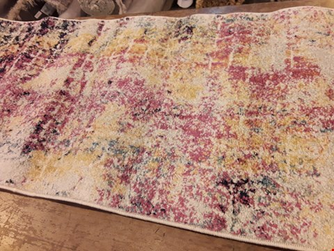 Lot 3084 DESIGNER URBAN ABSTRACT PINK MULTI COLOURED RUG 60 × 220