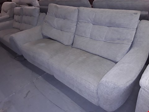 Lot 22 QUALITY BRITISH MANUFACTURED HARD WOOD FRAMED BEIGE FABRIC VINTAGE STYLE THREE & TWO SEATER SOFAS